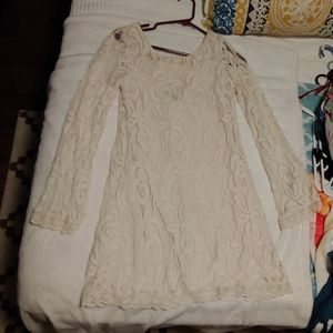 Off white long sleeved lace mini dress